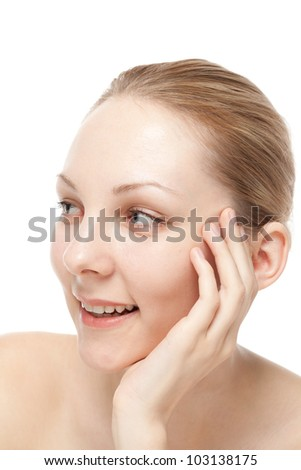 Portrait of beautiful young woman on white background. Portrait of caucasian.