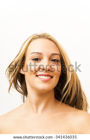 Portrait of Beautiful Young Woman Over White Background - stock photo