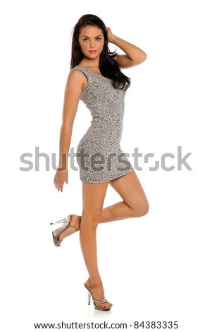 Portrait of beautiful young woman posing isolated over white background - stock photo