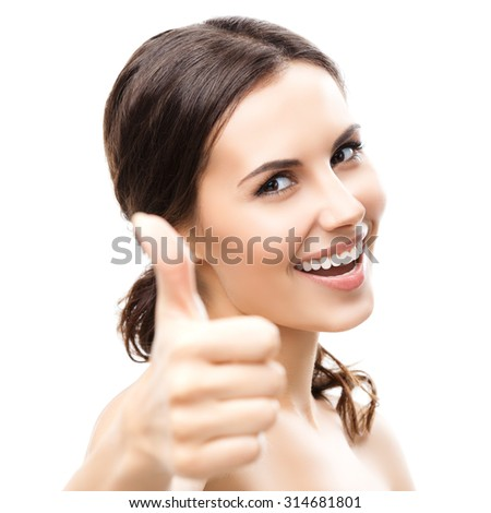 Portrait of beautiful young woman showing thumb up gesture, isolated on white background - stock photo