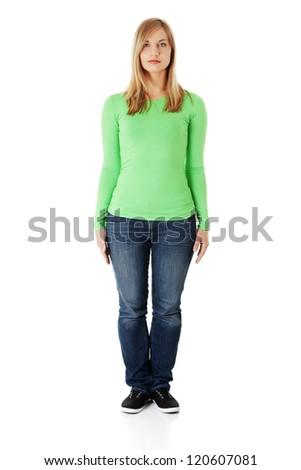 Portrait of beautiful young woman ( student ) in casual clothes, isolated on white - stock photo