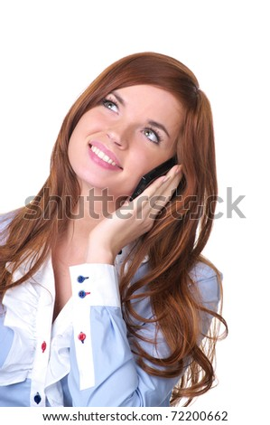 Portrait of beautiful young woman talking cellphone - stock photo