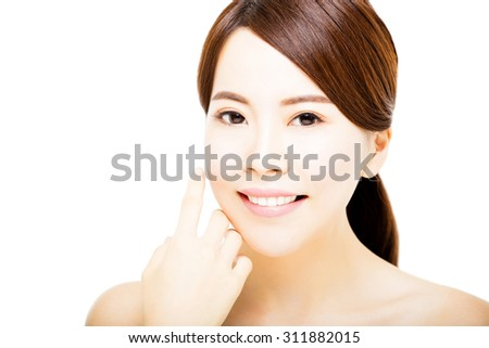 Portrait of beautiful young  woman with clean face  - stock photo