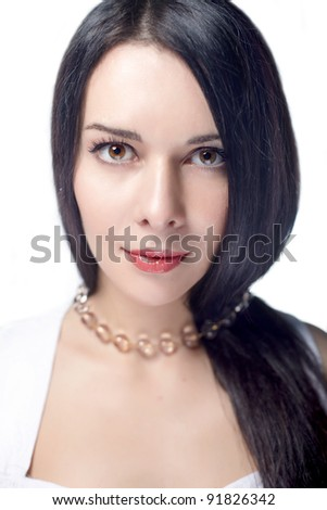 portrait of beautiful young woman with  healthy long hair - stock photo