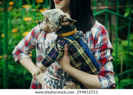 Portrait of beautiful young woman with her yorkshire terrier - stock photo