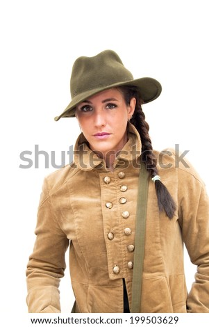 Portrait of Beautiful Young Woman  With Jacket And Hat Over White Background