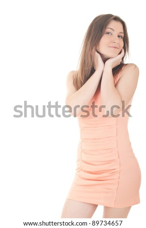 portrait of beautiful young woman with long brown hair posing isolated on white background - stock photo