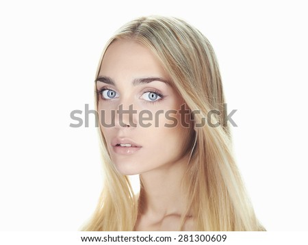 Portrait of beautiful young woman with long hair on white background.Blond girl.hairstyle. Beauty salon - stock photo