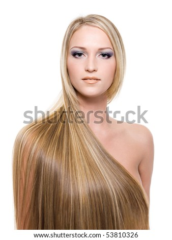 portrait of beautiful young woman with long straight blond hair - stock photo