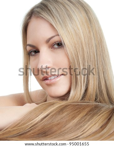 Portrait of beautiful young woman with long straight hair posing on white background - stock photo