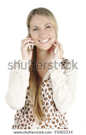 Portrait of beautiful young woman with long straight hair posing on white background with mobile - stock photo
