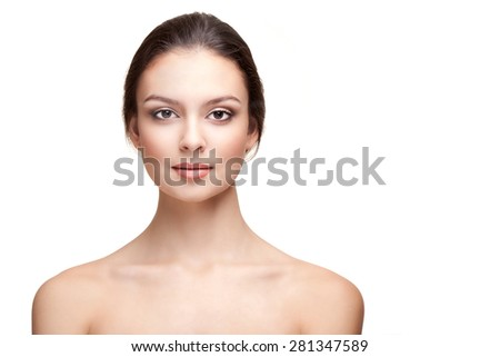 Portrait of Beautiful Young Woman with Perfect Skin on the White Background. Head and Shoulders - stock photo