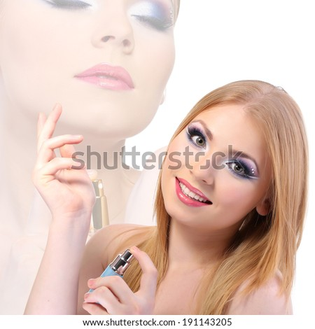Portrait of beautiful young woman with perfume, isolated on white - stock photo