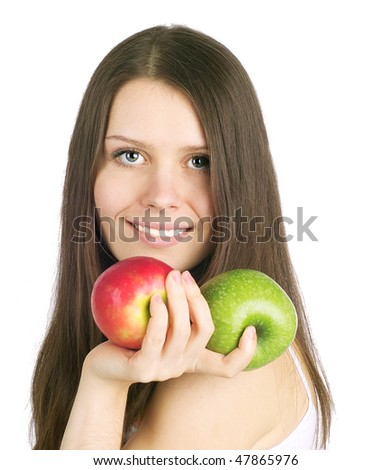 Portrait of beautiful young woman with raw food.
