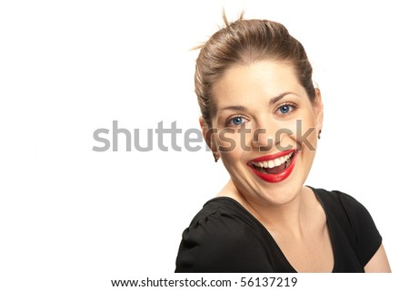 Portrait of beautiful young woman with red lips isolated over white. Big toothy smile. - stock photo