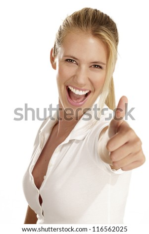 Portrait of beautiful young woman with thumbs up gesture on white background - stock photo