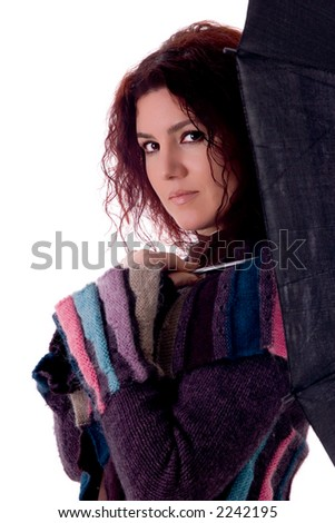 Portrait of beautiful young woman with umbrella over white background. - stock photo