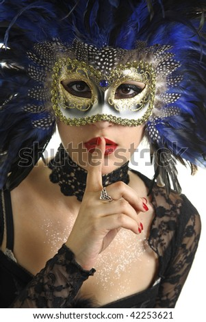 Portrait of beautiful young woman with Venetian mask on her face. Masquerade concept. Studio shot. Isolated on white background. - stock photo