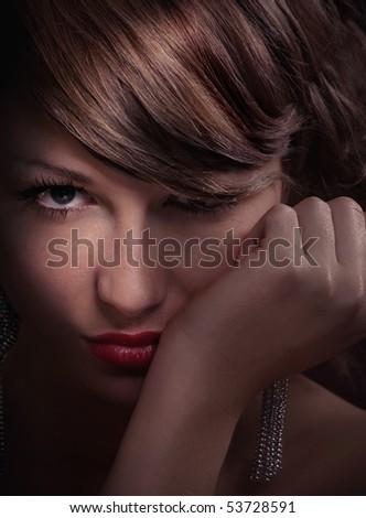 Portrait of beautiful young women - close up - stock photo