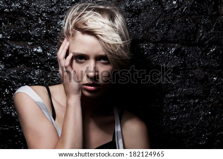 portrait of beauty blond woman  - stock photo