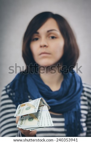 portrait of beauty girl with money close up - stock photo