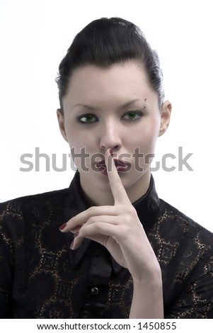 portrait of beauty lady with finger on the mouth