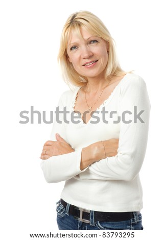 Portrait of beauty mature woman waring causal dress - stock photo