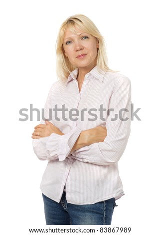 Portrait of beauty mature woman wearing shirt and jeans - stock photo