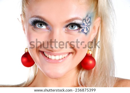 Portrait of beauty model with winter make up - stock photo