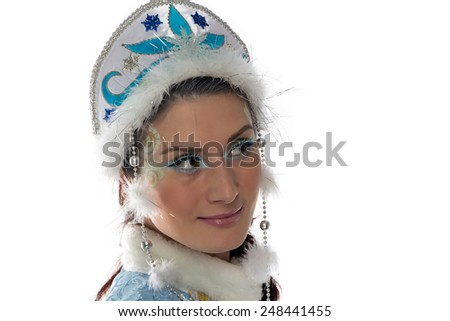 Portrait of beauty snow maiden on white background