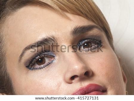 Portrait of Beauty Woman on wallpaper background - stock photo