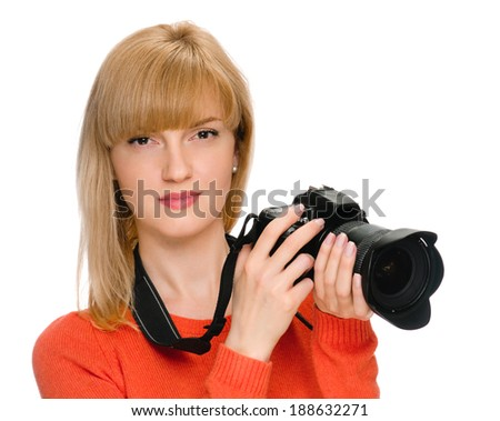portrait of beauty woman with camera on white - stock photo