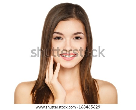 Portrait of beauty young cheerful woman with natural make-up  - stock photo