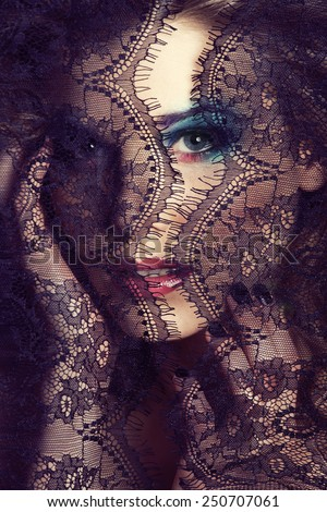 portrait of beauty young woman through lace close up, elegant stylish - stock photo