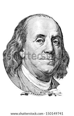 Portrait of Benjamin Franklin in front of the one hundred dollar bill - stock photo