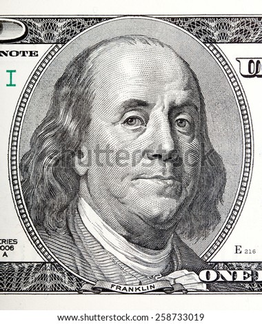 Portrait of Benjamin Franklin macro from 100 dollars bill