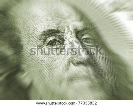 Portrait of Benjamin Franklin on a dollar banknote - stock photo