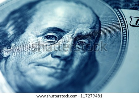 Portrait of Benjamin Franklin on a one hundred dollar banknote. - stock photo