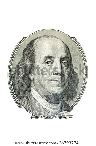 Portrait of Benjamin Franklin on the one hundred dollar bill, isolated on white