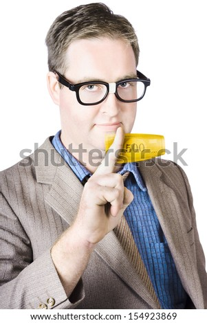 Portrait Of Bespectacled Businessman Holding Banknote On White Background - stock photo