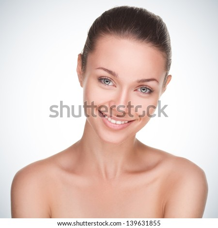 Portrait of beutiful girl isolated on gradient background - stock photo