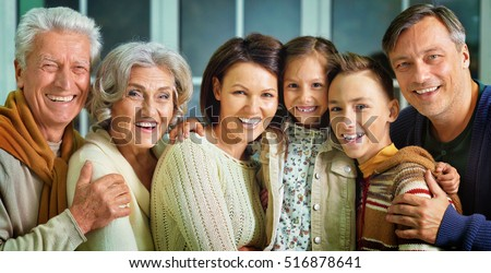 Portrait of big family
