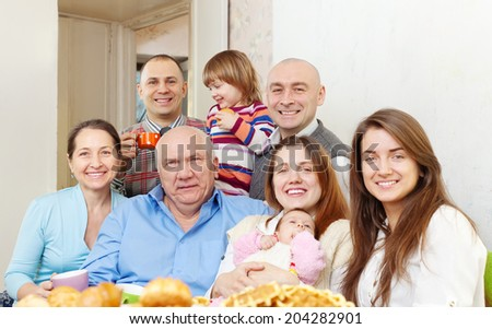 Portrait of big happy family communicate  at home - stock photo