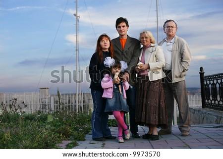 Portrait of big happy family outdoors - stock photo