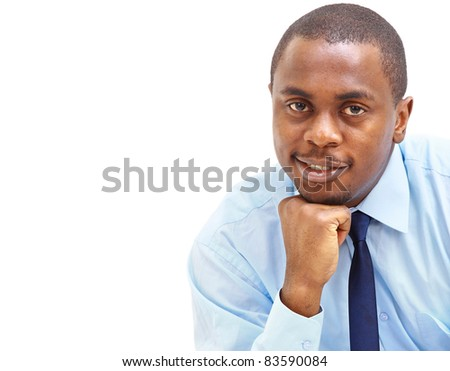 portrait of black businessman over white background - stock photo