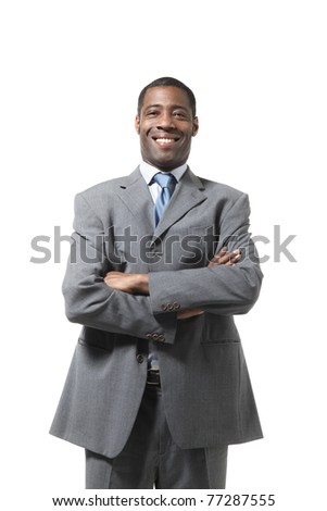 portrait of black businessman with suit over white background - stock photo