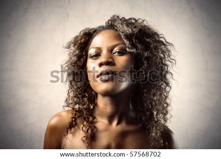 portrait of black woman - stock photo