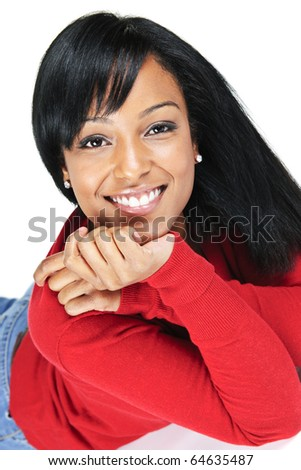 Portrait of black woman smiling laying isolated on white background