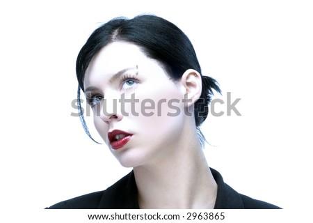 portrait of black wonder lady - stock photo