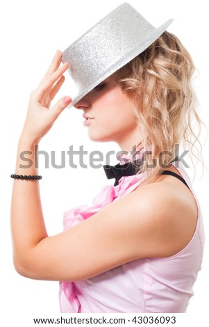 Portrait of blond fairy holding magician hat, isolated on white - stock photo